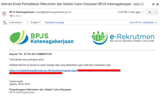 Rekrutmen BPJS Ketenagakerjaan - 1 Verifikasi Email 2